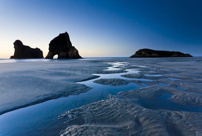 Praia de Wharariki, Nelson foto de stock royalty free