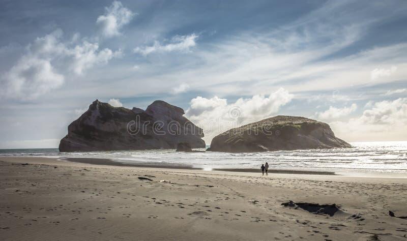 Praia de Wharariki, Nova Zel?ndia imagens de stock