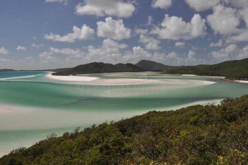 Praia de Whitehaven - consoles de Whitsunday fotos de stock