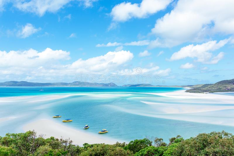 Praia de Whitehaven, ilha do domingo de Pentecostes, Austrália foto de stock