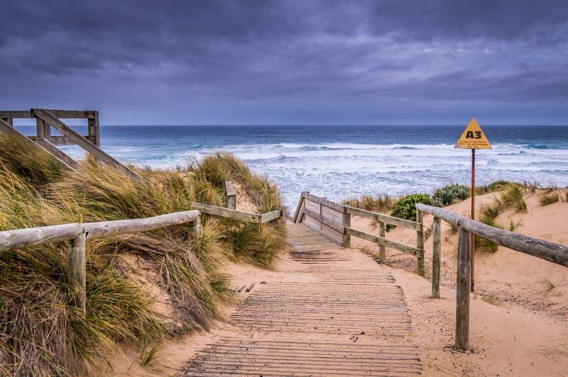 Praia de Woolamai do cabo em Phillip Island fotografia de stock