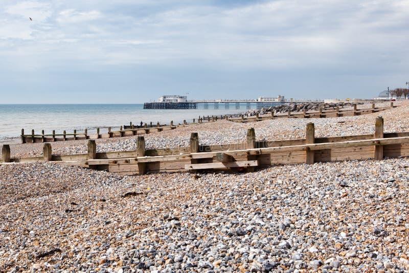 Praia de Worthing, Sussex ocidental, Reino Unido foto de stock