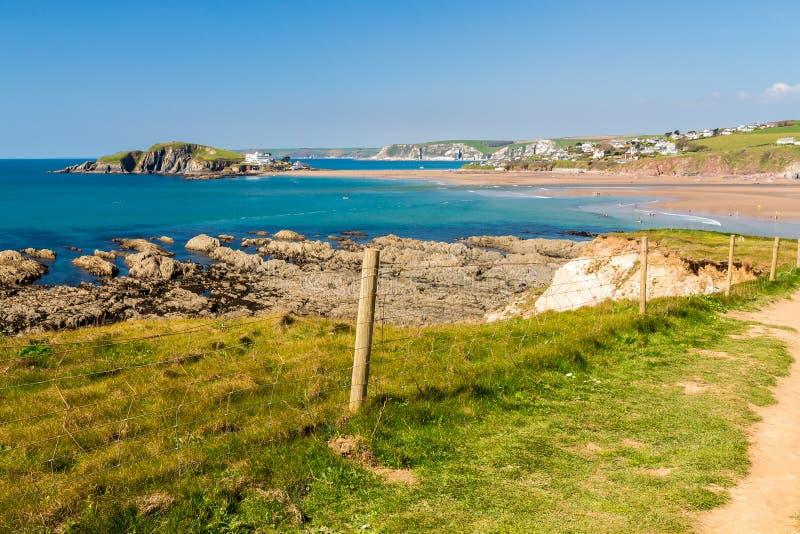 Praia Devon de Bantham fotos de stock