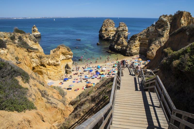 Praia do Camilo στην Πορτογαλία στοκ εικόνα