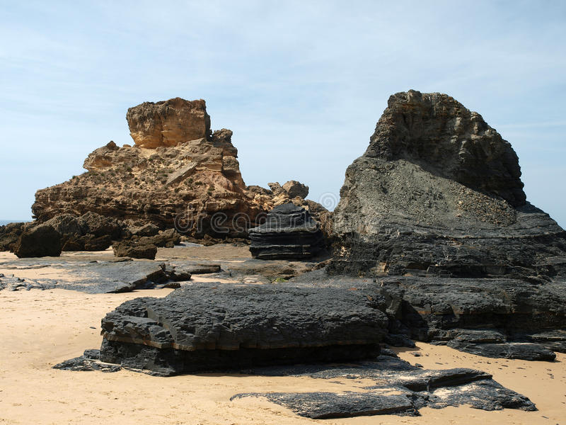 Praia do Castelejo, κοντά Vila Do Bispo, Αλγκάρβε στοκ φωτογραφία