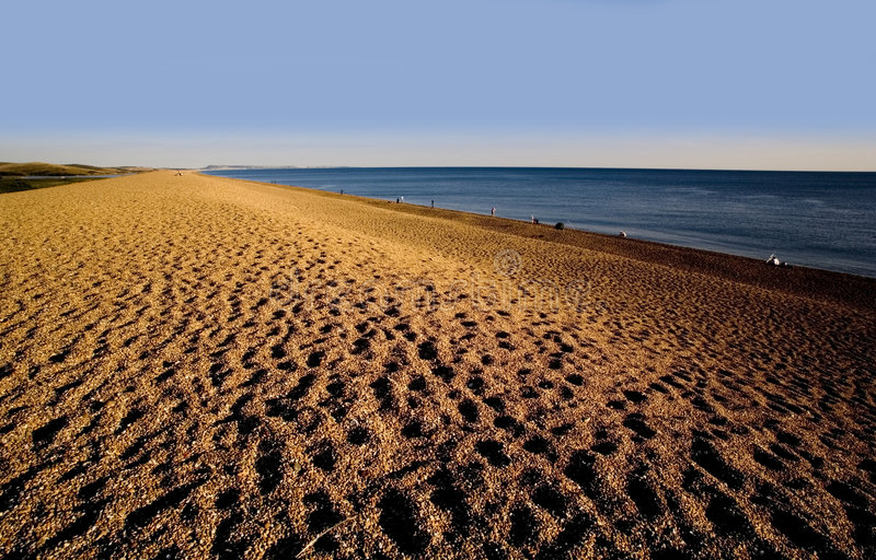 Praia do chesil da costa de Inglaterra Dorset foto de stock