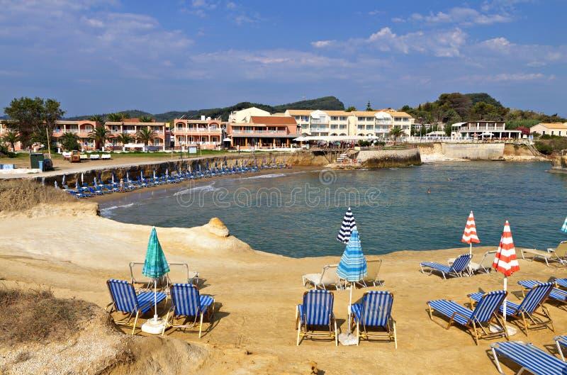 Praia do d'amour do canal em Corfu, Grécia imagens de stock