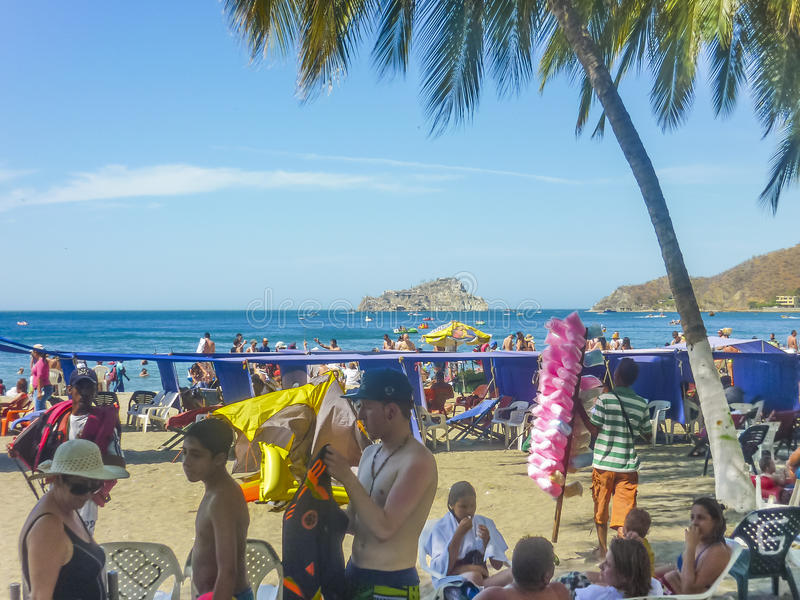 Praia do EL Rodadero em Colômbia imagens de stock