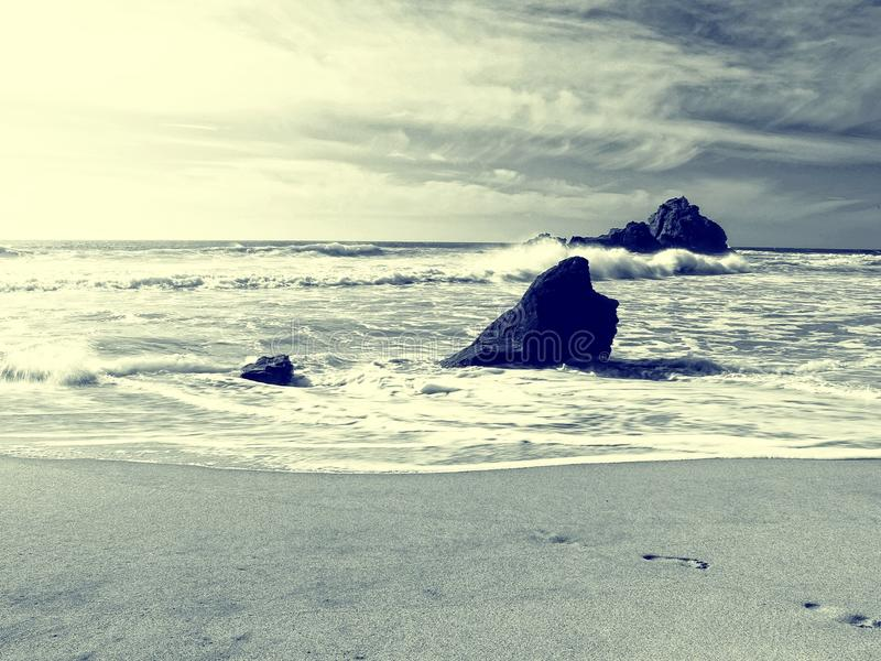 Praia do estilo do vintage fotografia de stock royalty free