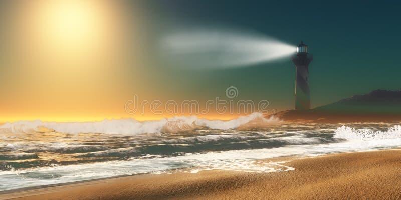Praia do farol com ondas foto de stock