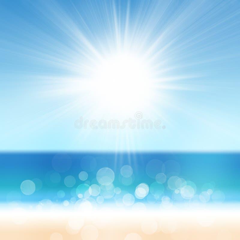 Praia do fundo das férias de verão e mar tropical com Sun brilhante ilustração stock