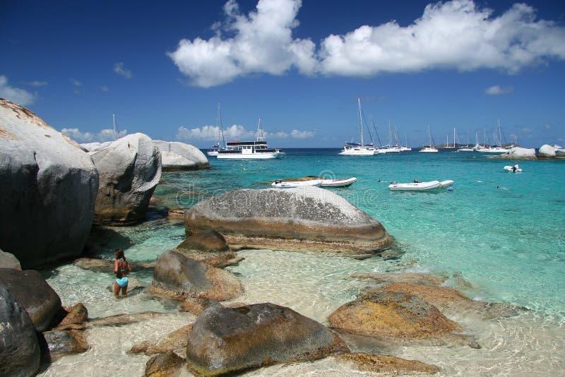 Praia do granito fotos de stock royalty free