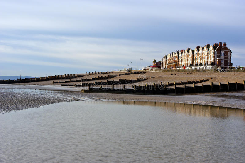 Praia do inverno, Bexhill no mar, Inglaterra fotos de stock