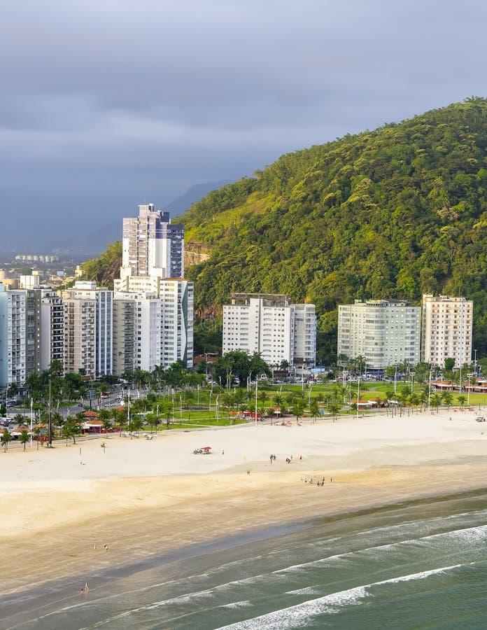 Praia do Itarare, Sao Vicente SP Brasilien arkivbilder