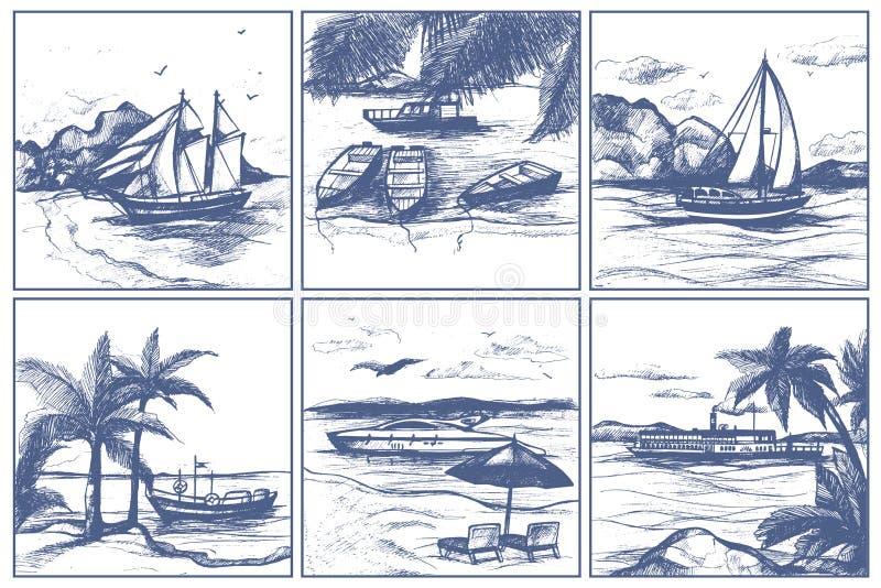 A praia do litoral com os barcos de navigação das palmeiras no estilo tirado mão da garatuja do esboço do vetor do horizonte envi ilustração do vetor