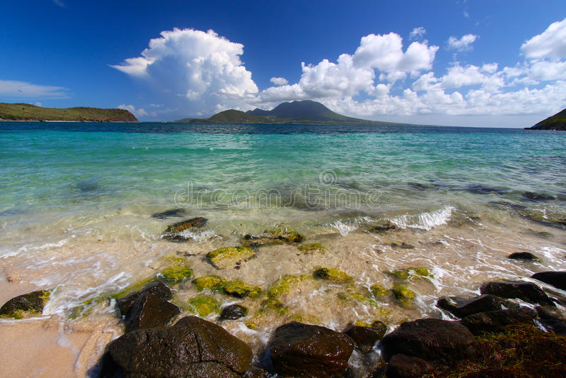 Praia do louro do major - St Kitts imagem de stock royalty free