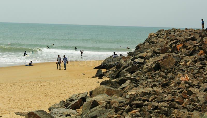 Praia do mahabalipuram fotografia de stock royalty free