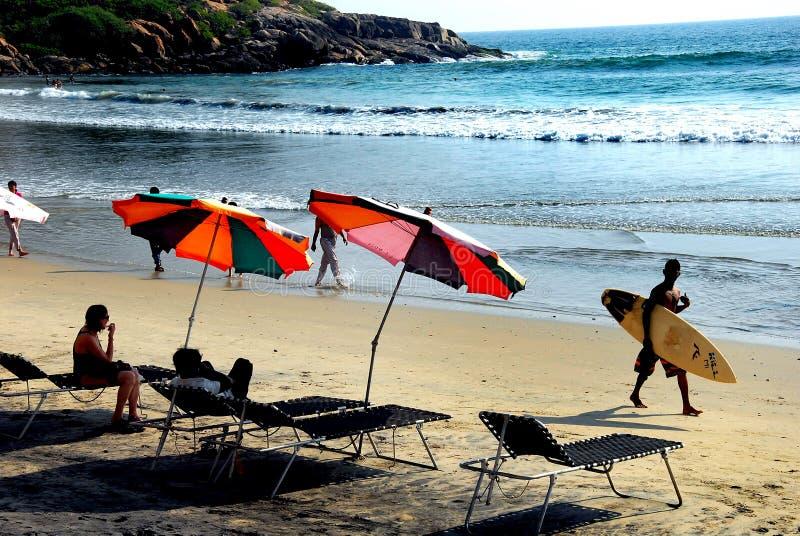 Praia do mar de Kovalam de Kerala imagem de stock