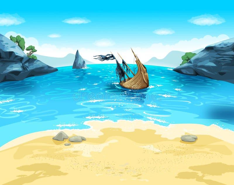 Praia do mar dos desenhos animados da tração com navio ilustração do vetor