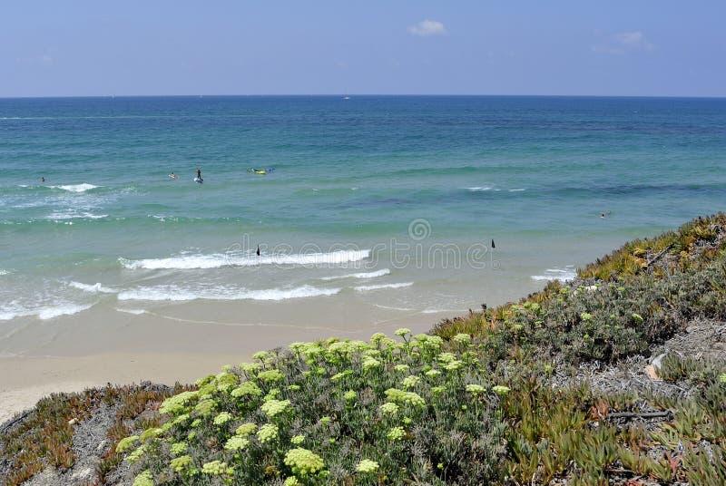 Praia do mar Mediterrâneo, Israel imagens de stock