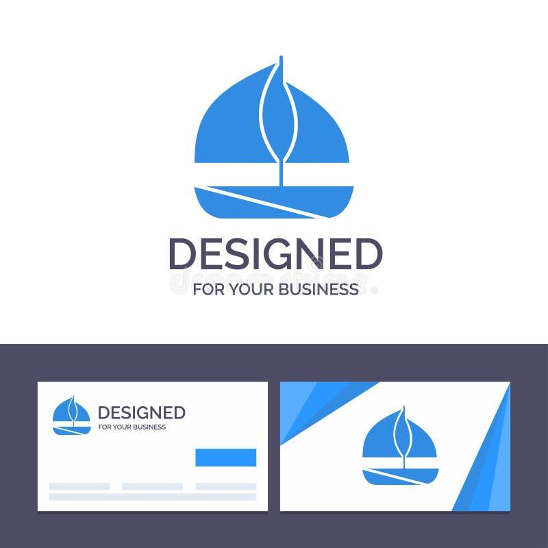 Praia do molde criativo do cartão e do logotipo, barco, ilustração do vetor do navio ilustração stock