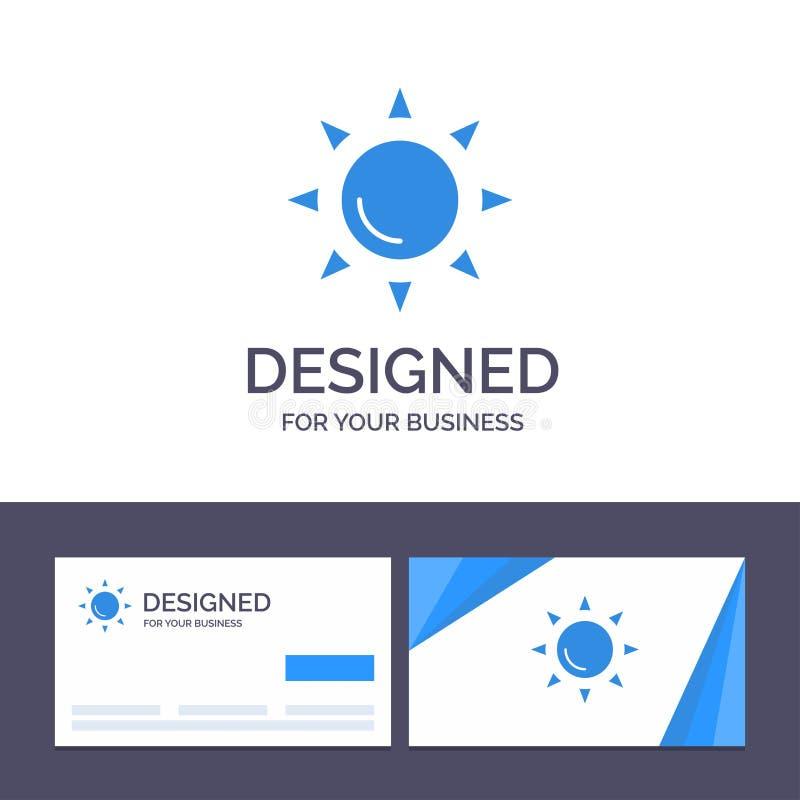Praia do molde criativo do cartão e do logotipo, Shinning, ilustração do vetor de Sun ilustração royalty free