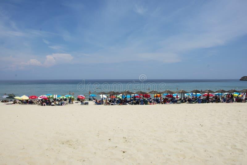 Praia do paraíso na ilha de Thassos fotografia de stock