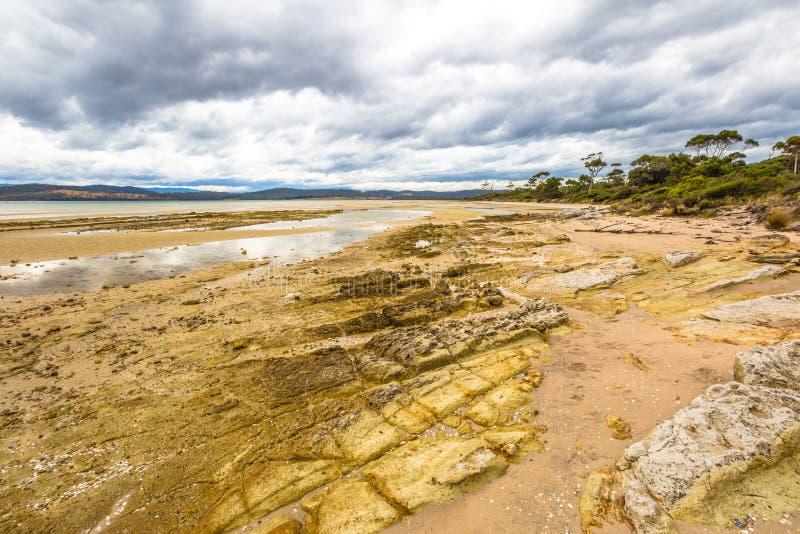 Praia do ponto de Dennes na ilha de Bruny fotografia de stock royalty free