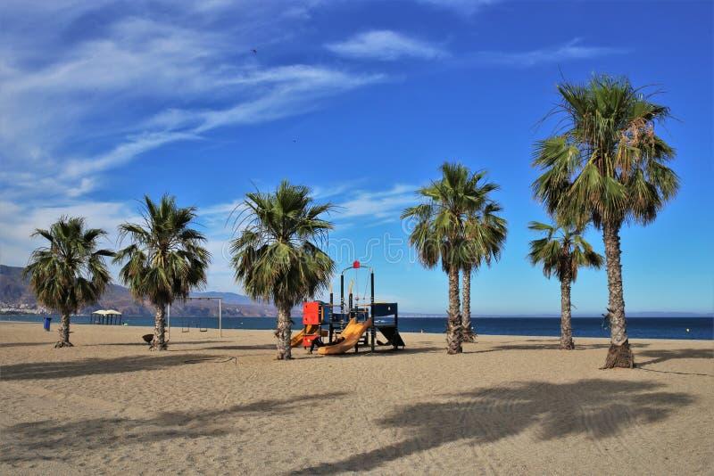 Praia do Romanilla de Roquetas de março Almeria Andalusia Spain imagem de stock