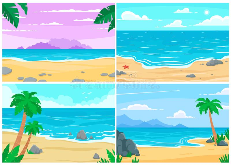 Praia do verão A costa do oceano ou de mar, praias ajardina e ilustração do fundo do vetor dos desenhos animados da praia da arei ilustração do vetor