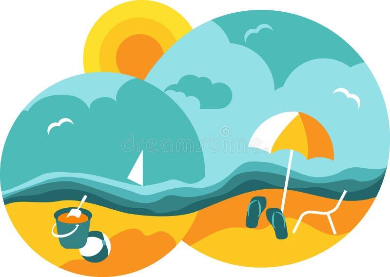 Praia do verão e mar azul ilustração stock