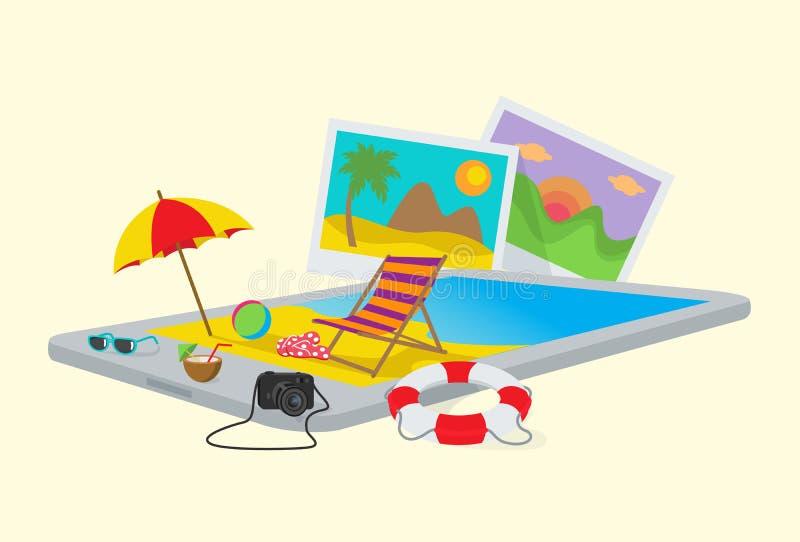 Praia do verão em um PC da tabuleta ilustração stock