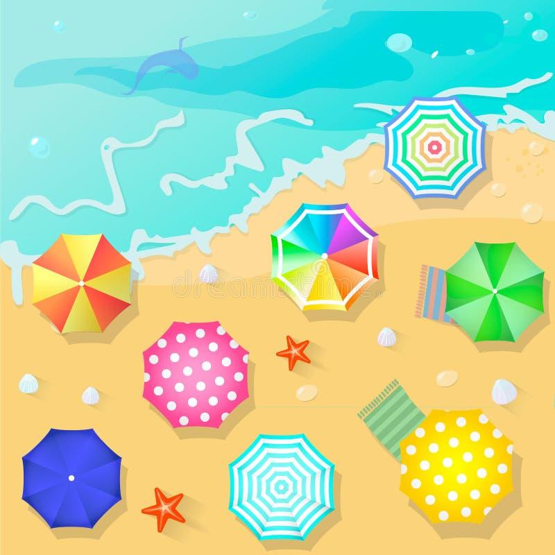 Praia do verão no estilo liso do projeto Escudo e toalha ilustração royalty free