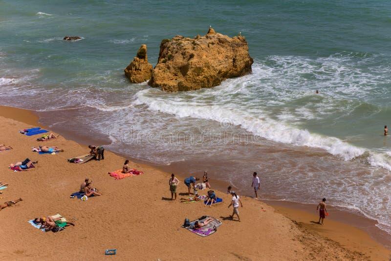 Praia Dona Ana stockfotos
