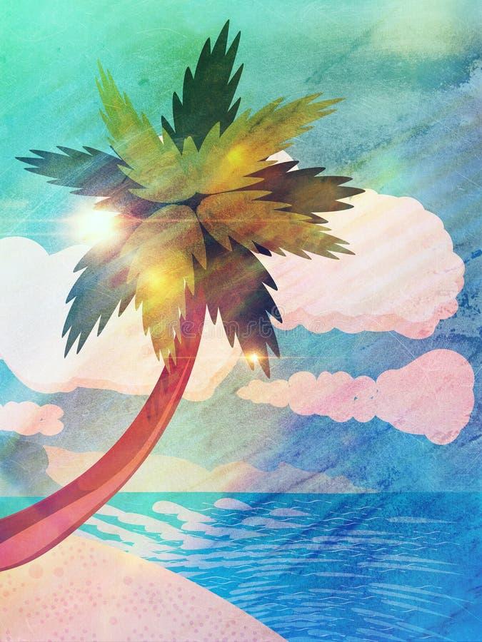Praia dos desenhos animados do Grunge com palma ilustração do vetor