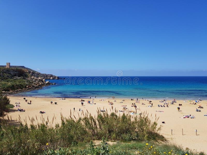 Praia dourada em Malta foto de stock