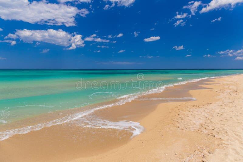 Praia dourada surpreendente da areia perto de Monopolli Capitolo, região de Apulia, Itália do sul fotografia de stock