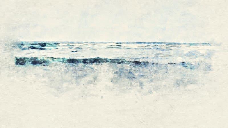 Praia e água do mar coloridas no fundo de pintura da aquarela ilustração royalty free
