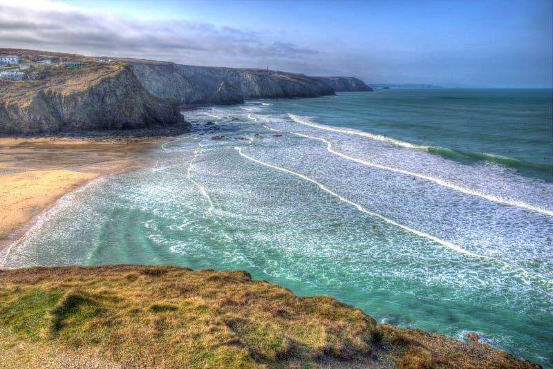Praia e costa de Porthtowan perto de St Agnes Cornwall England Reino Unido em HDR imagens de stock