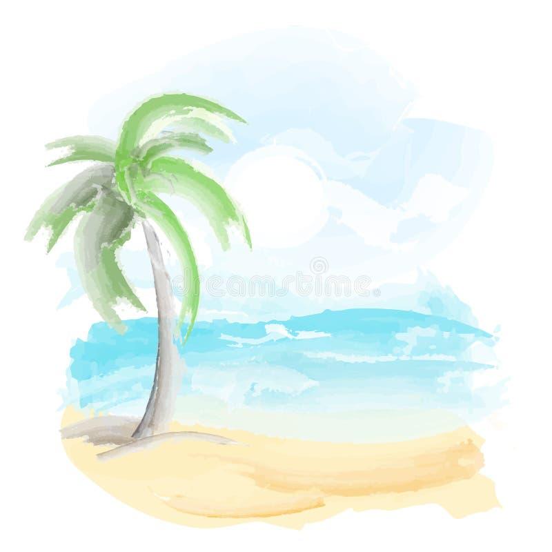 Praia e mar ilustração stock