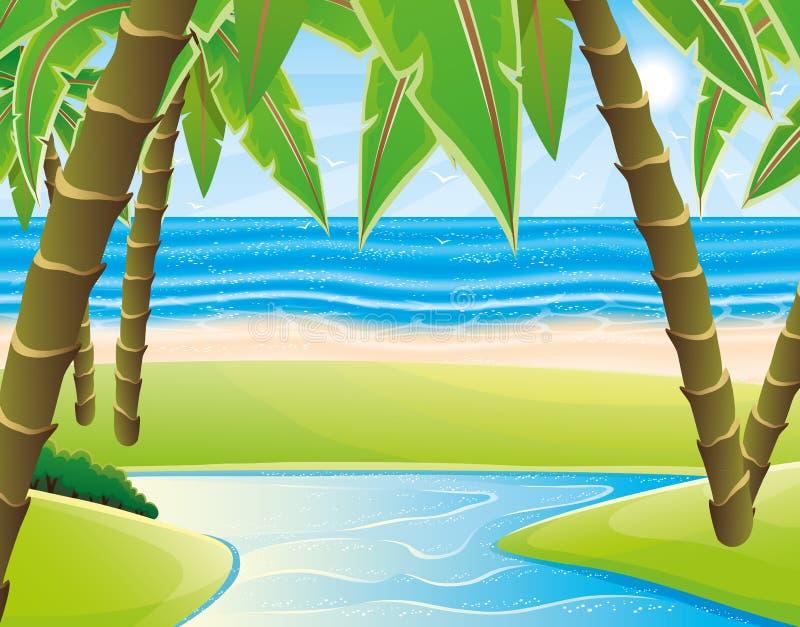 Praia e palmeiras ilustração royalty free