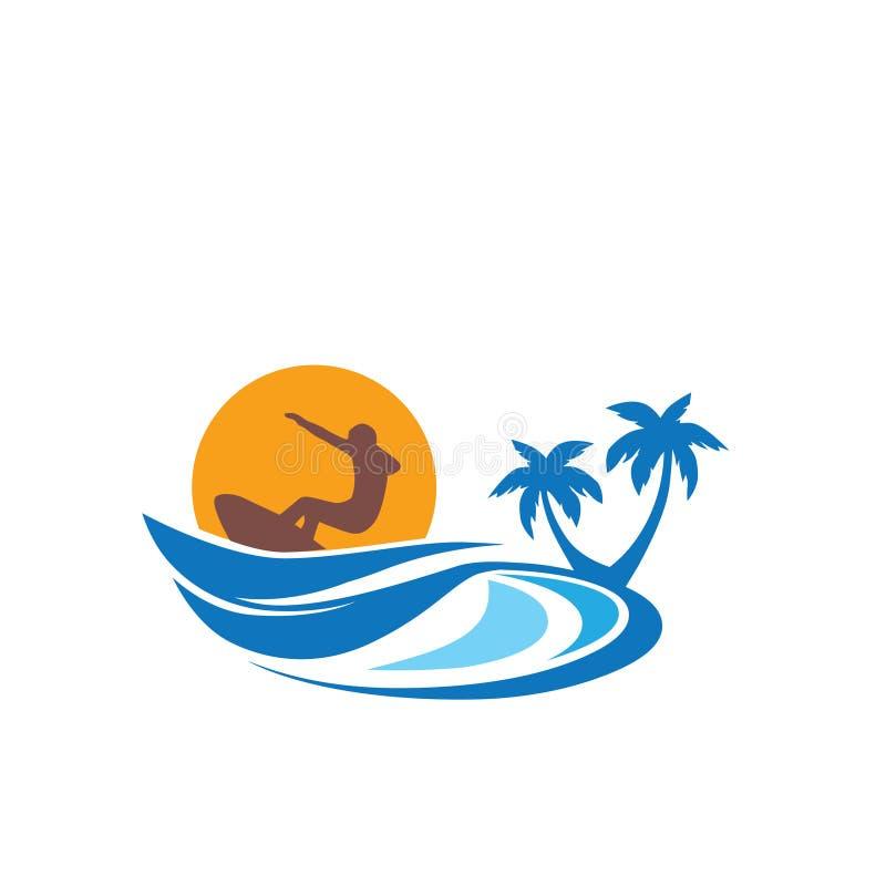 Praia e surfista tropicais ilustração royalty free