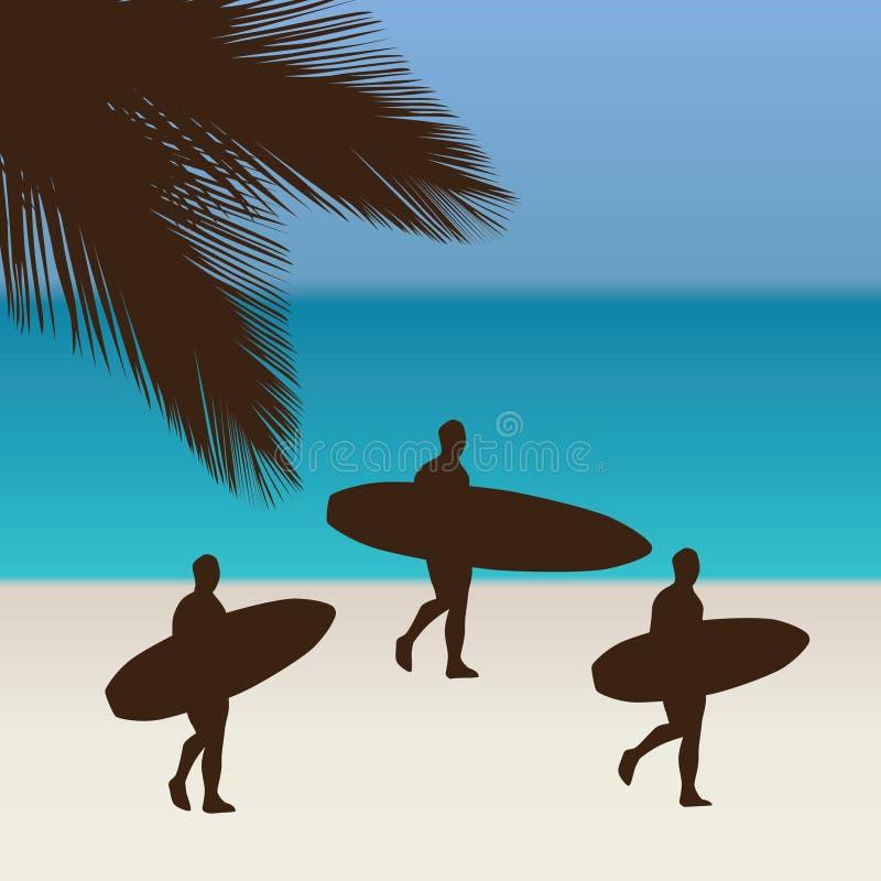 Praia e surfistas tropicais ilustração do vetor