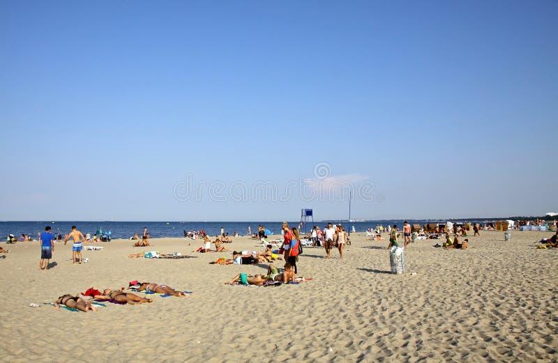 Praia em Sopot, mar Báltico, Polônia imagem de stock