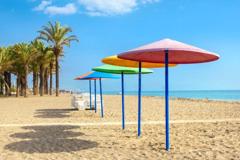 Praia em torremolinos Província de Malaga, Costa del Sol, a Andaluzia imagens de stock