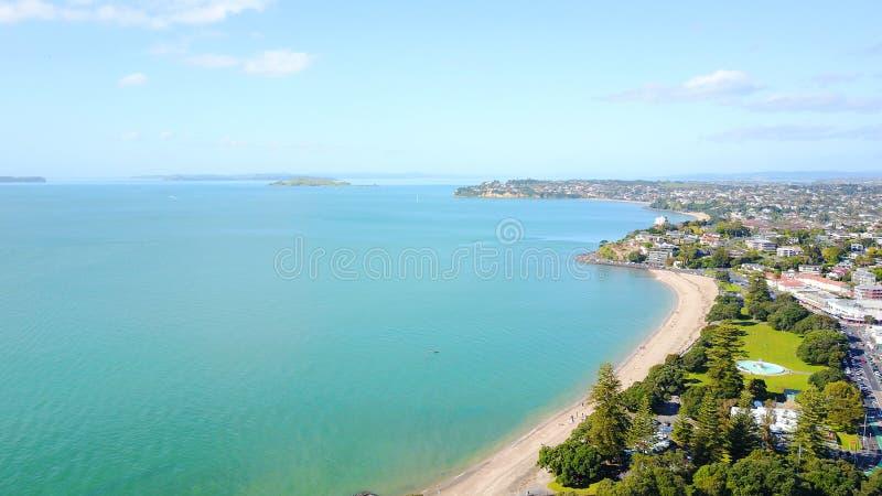 Praia ensolarada com subúrbio residencial no fundo Auckland, Nova Zelândia imagem de stock