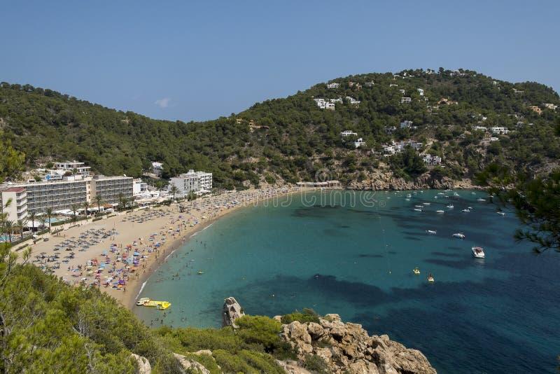Praia ensolarada, Ibiza fotografia de stock