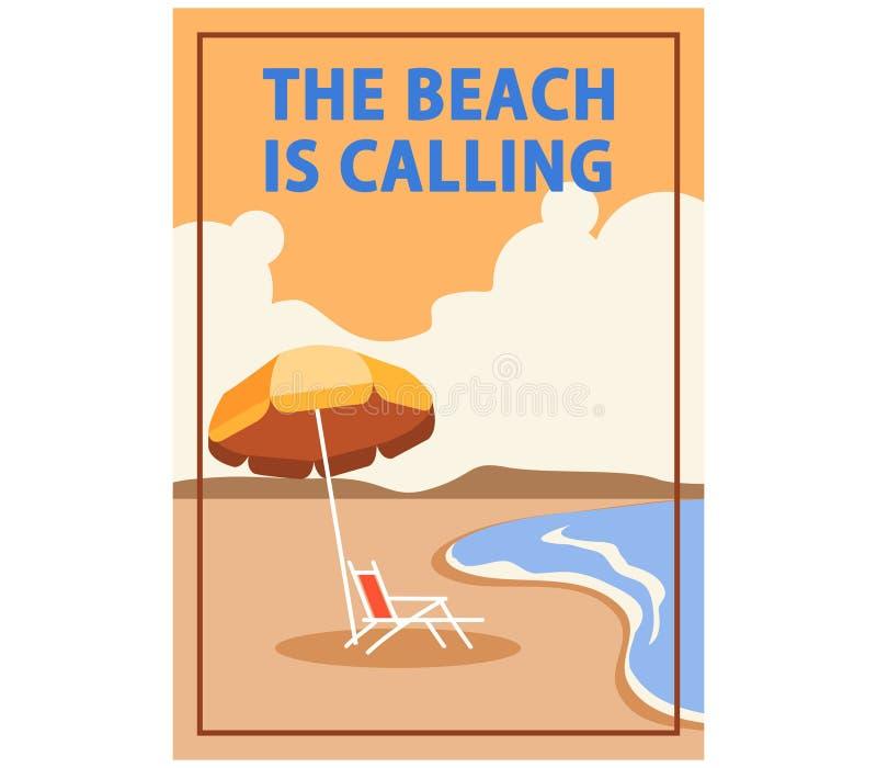 A praia está chamando o PNF Art Cubism Poster ilustração stock
