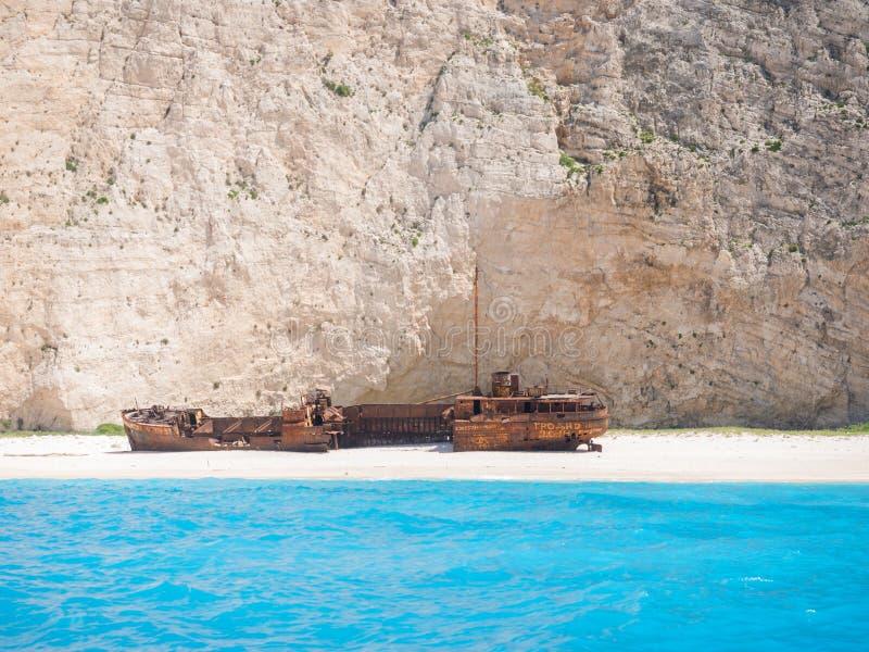 A praia famosa Zakynthos do naufrágio foto de stock