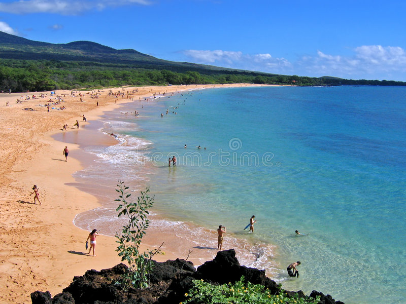 Praia grande, Makena, Maui, Havaí fotos de stock royalty free